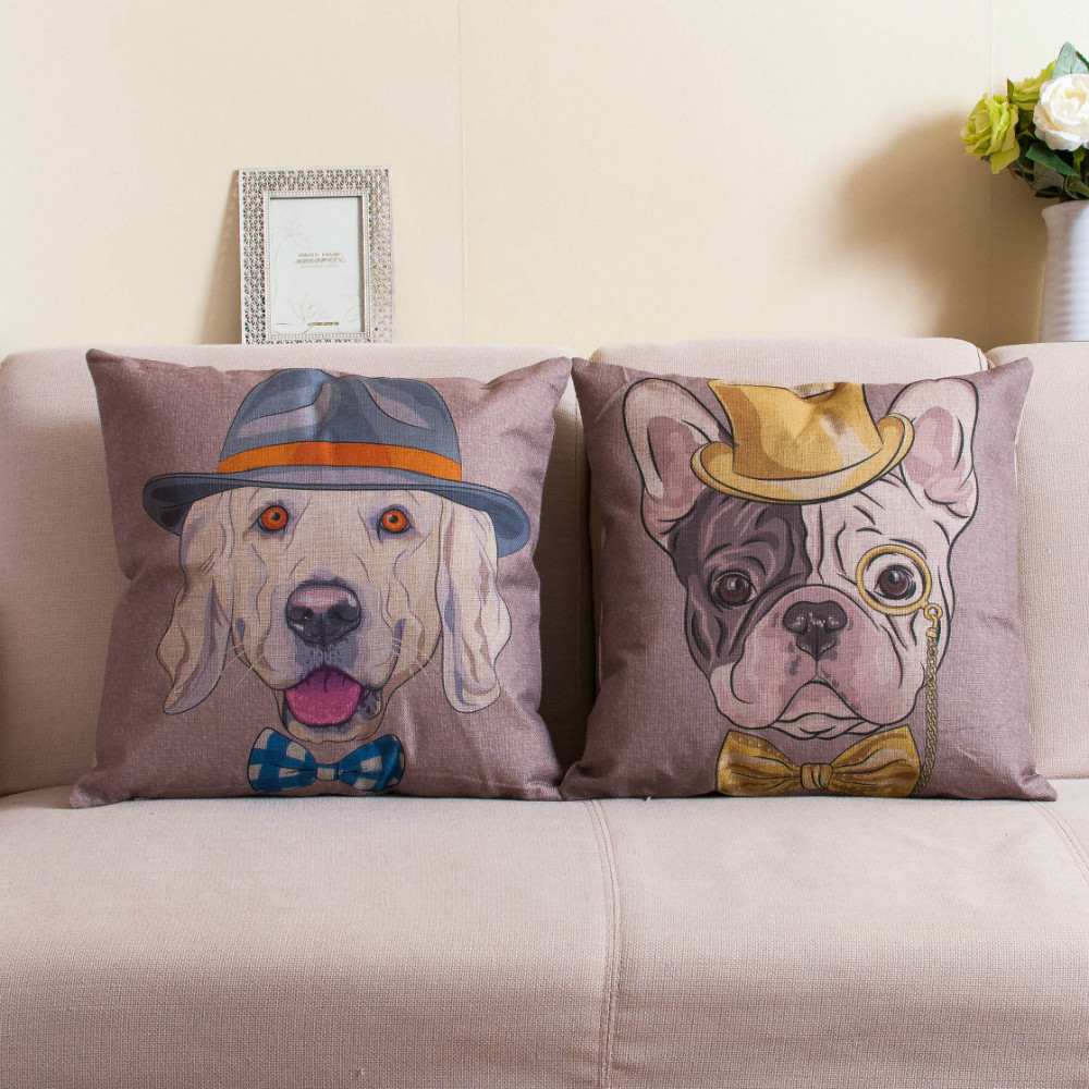 Animal Pillows Bulk : wholesale gentlenman glasses pet dog printed cushions case burlap linen novelty animal pillow ...