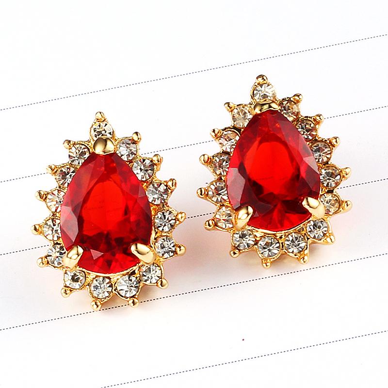 water drop red korean earrings crystal jewelry studs