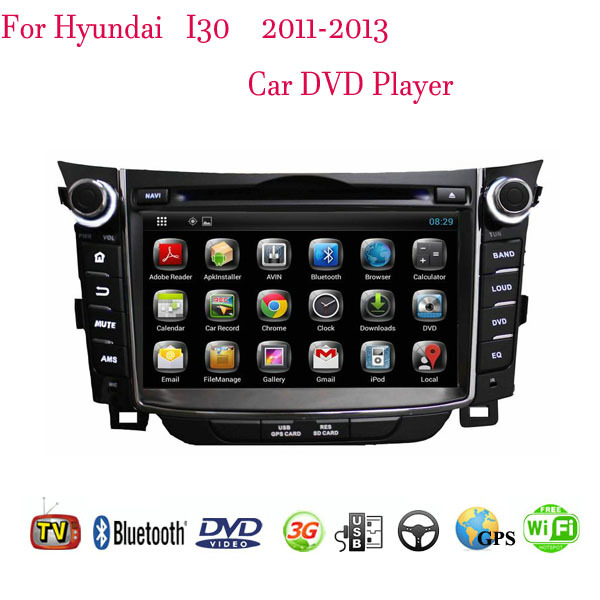 Quad Core 1024*600 Android 4.4.4 Fit HYUNDAI I30 2011 2012 2013 Car DVD Player GPS TV 3G Radio Bluetooth(China (Mainland))