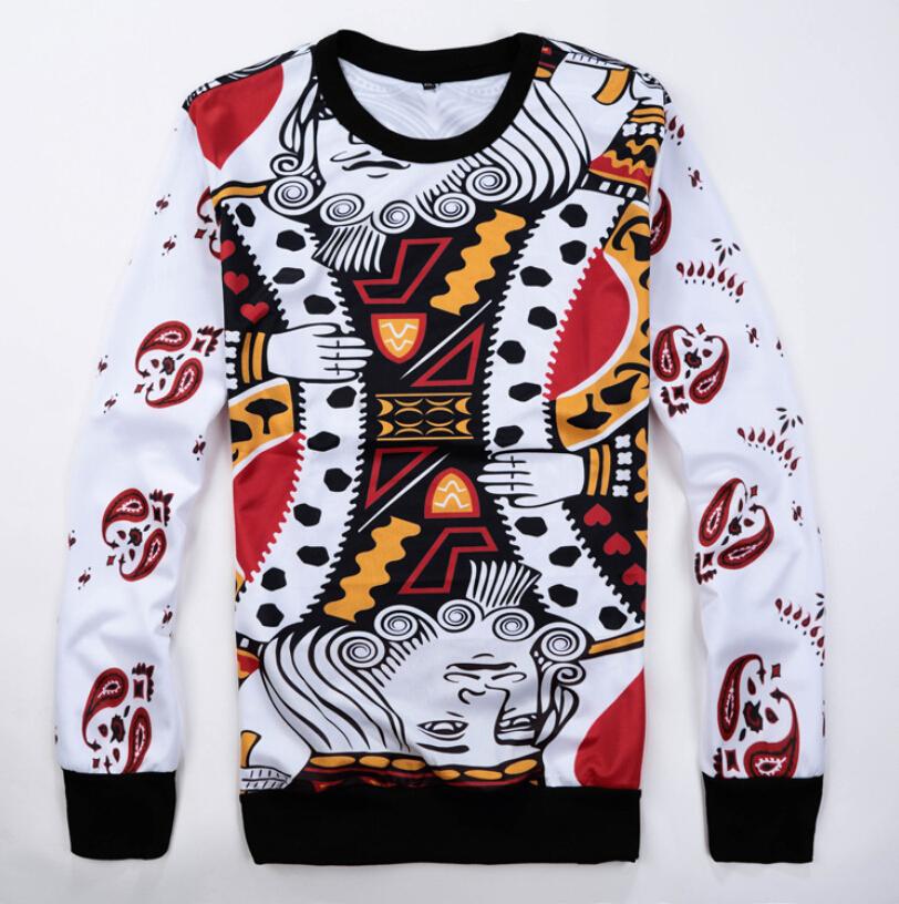 2015 New Harajuku Playing cards print 3d Sweatshirt women men hip hop hoodies outdoor clothes sudaderas