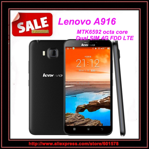 Original Lenovo A916 MTK6592 octa core 4G FDD-LTE mobile phone 1GB Ram 8GB Rom 5.5'' 1280*720 Android 4.4 Dual SIM play store(Hong Kong)
