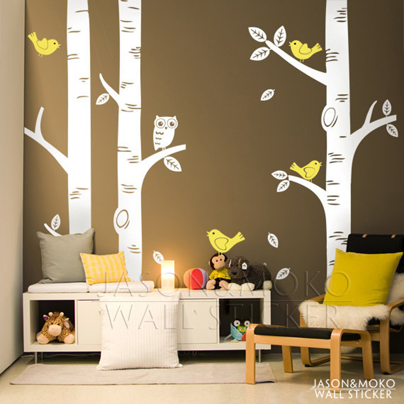 Buy large owl birds birch tree wall decal for Appliqu mural autocollant