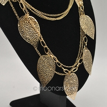 Hot European and American Style Vintage Leaves Multi layer Alloy Bohemia Long Necklace Fashion Jewelry zx