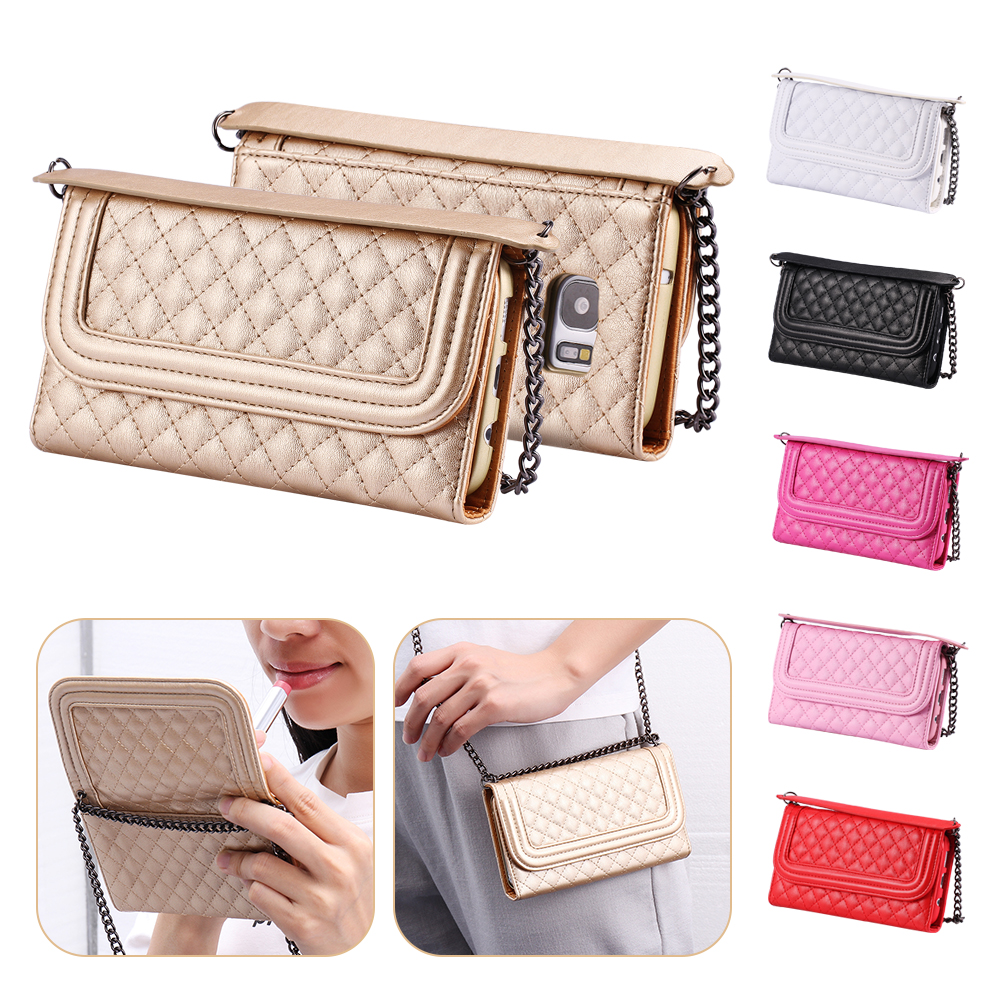 FLOVEME S7 Edge Phone Bag PU Leather Crossbody Wallet Cover For Samsung Galaxy S7 Edge Long Metal Chain Case With Make Up Mirror(China (Mainland))