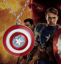 2015 New Hot Movie Film Jewelry American superhero Captain America Shield Pendant Necklace logo jewelry Star Pendant