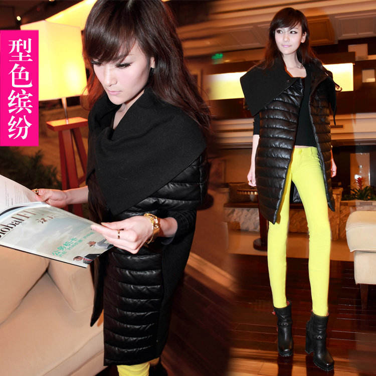 2013 vest female PU cotton long design cotton-padded jacket leather thickening - Online Store 218027 store