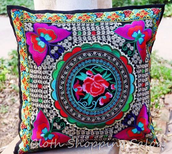 2015 national trend Handmade embroidered embroidery Cushion Cover flower Butterfly car pillow sofa cushion cover batik print set(China (Mainland))