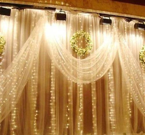 Romantic 1mx2m 6W 220V Warm white 104 LED Christmas Tree Party Wedding Wall Window Door Decor Light Curtain(China (Mainland))