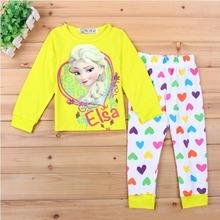 2015 Brand Character Elsa Pajamas Set Baby Girls Cute Cotton Sleepwear Pajamas Set Children Kids Pijama Infantil Clothing CF004(China (Mainland))