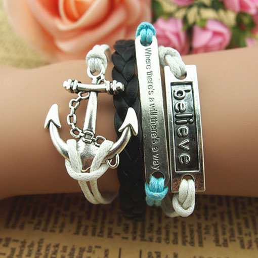 anchor silver hand-knitted leather cord multi-layer bracelet - Fashion ACC store