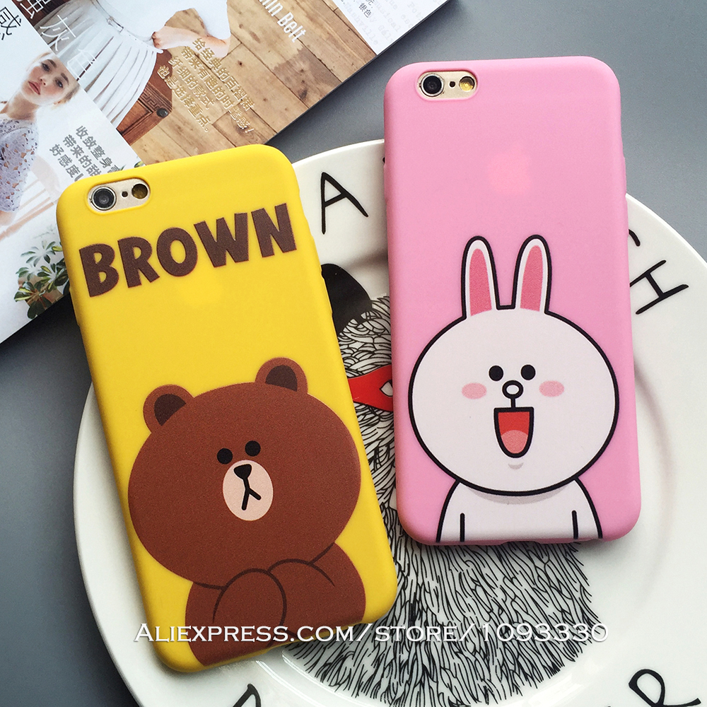 Brown and Cony Phone Case for Apple iPhone SE 6s 5 5s 6Plus 6 Line Friends Soft Slim Silicone Protective Shell Cover Phone Bags(China (Mainland))