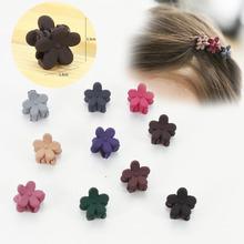 6Pcs/lot Cute Scrub Flower Shape Mini Hair Claw Clips For Baby Girls' Kids Little Girls Clip Cartoon Accessories