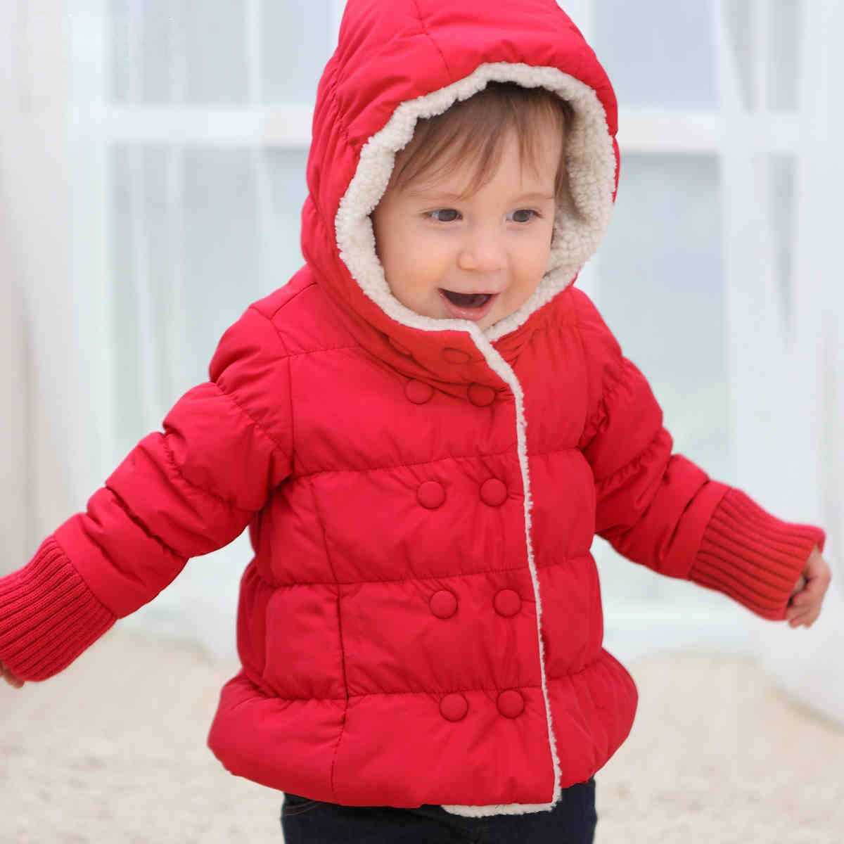 New Europe and American style infant baby girl thickened fleece hooded padded coat jacket boys winter outwear coat(China (Mainland))