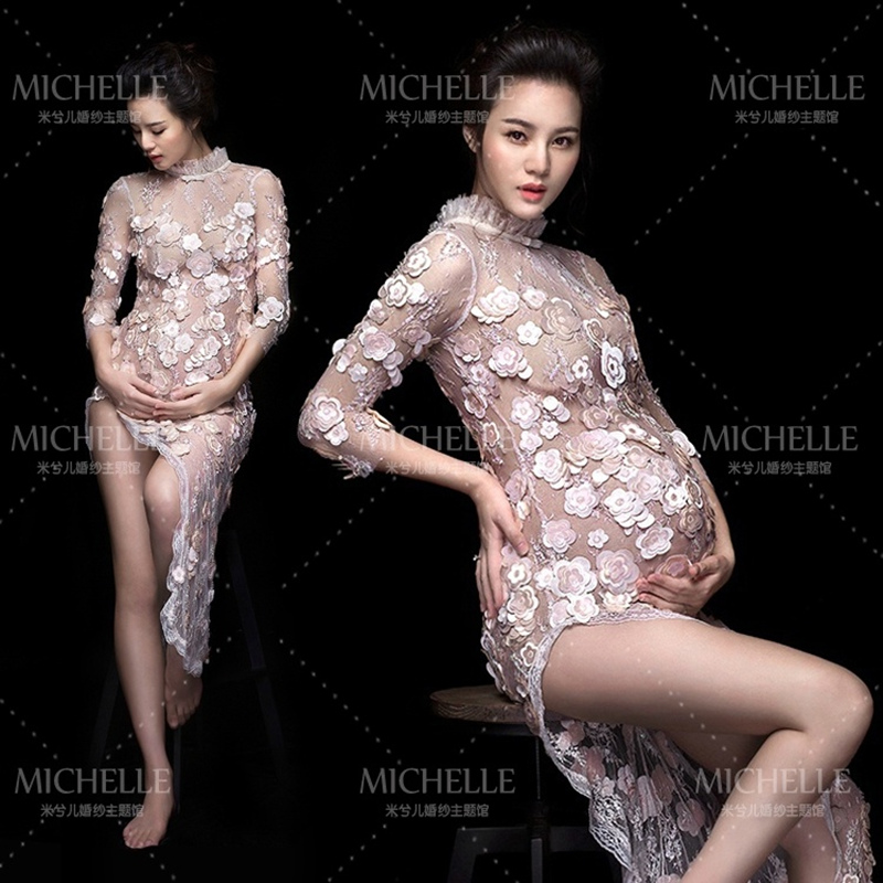 New Style Pregnancy Maternity Photo Shoot Long Dress Nightdress Fancy Pregnant Photography Props Maternity Lace Dress
