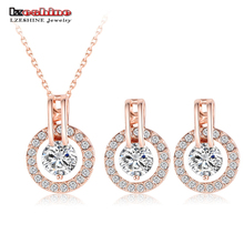 LZESHINE New 2016 Big Sale Wedding Jewelry Sets Rose Gold Plated Necklace/Earring Bijouterie Sets for Women Aretes ST0017-A(China (Mainland))