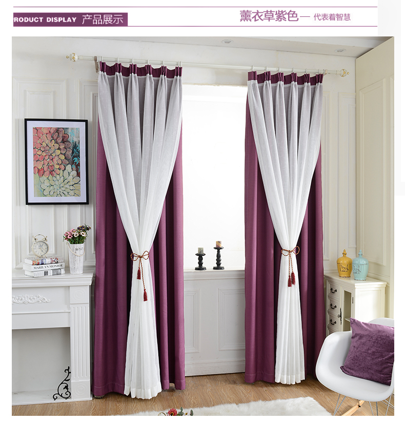 Bedroom Curtains Solid Color Japan Window Shades Imitation: Velvet Linen+ Tulle Window Curtain For Bedroom Living Room