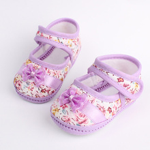 Girls flowers bow baby toddler shoes autumn Soft Sole Footwear First Walkers For Baby Girls