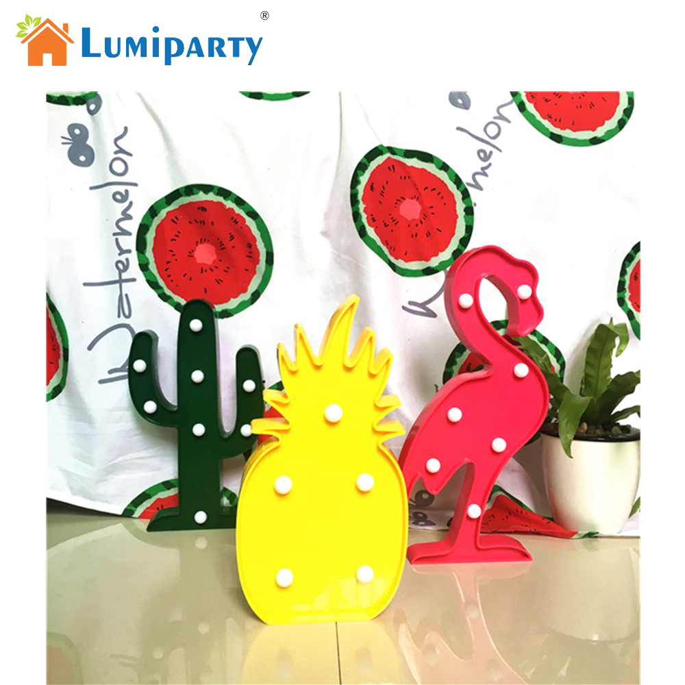 Lumiparty 3D Tropical LED Flamingo Pineapple Cactus Light Romantic Night Lamp Table Lamp Home Christmas Party Decor(China (Mainland))