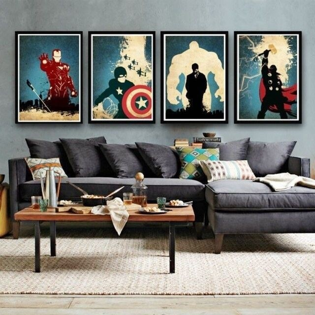 Modern Abstract Huge Canvas Art Oil Painting Hand Painted Movie Super Man quadro 4 piece Living Room Decoration Unique Gift(China (Mainland))