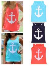 2015 new Fashion Women Summer Anchor print Vest shirts sexy backless Casual Tank Tops free shipping(China (Mainland))