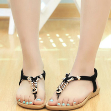 NEW 2015 Summer Style Flip Flops Fashion Women Cow Muscle Flat Sandals Shoes Women Casual String Bead Slippers Zip 4.5-8.5