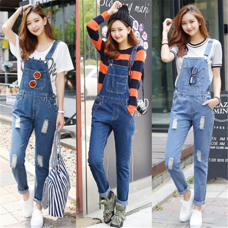 2016 Brand Fashion New Womens Ripped Denim Overalls Jeans Ladies Clothing Casual Distrressed Jumpsuit Bib Jeans Pants For Women(China (Mainland))