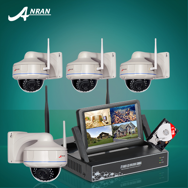 2016 New 4CH Wireless NVR CCTV System 7 Inch Screen Video Surveillance Kit 720P HD Fixed Dome Security IP Camera Wifi 1TB HDD(China (Mainland))