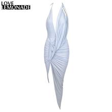 Buy Love&Lemonade Light Grey Color V-Neck Halter Irregular Folds Party Dress TB 9025 for $34.99 in AliExpress store