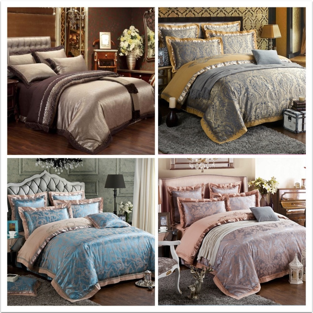 6 pcs de luxe ensemble de literie draps de soie linge de lit ensembles reine king size couette. Black Bedroom Furniture Sets. Home Design Ideas
