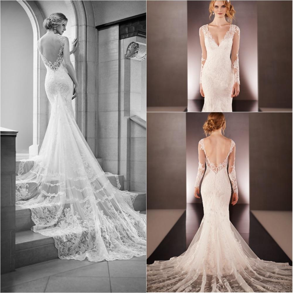 Robe de marrige sexy open back long sleeve vintage white for Vintage open back wedding dresses