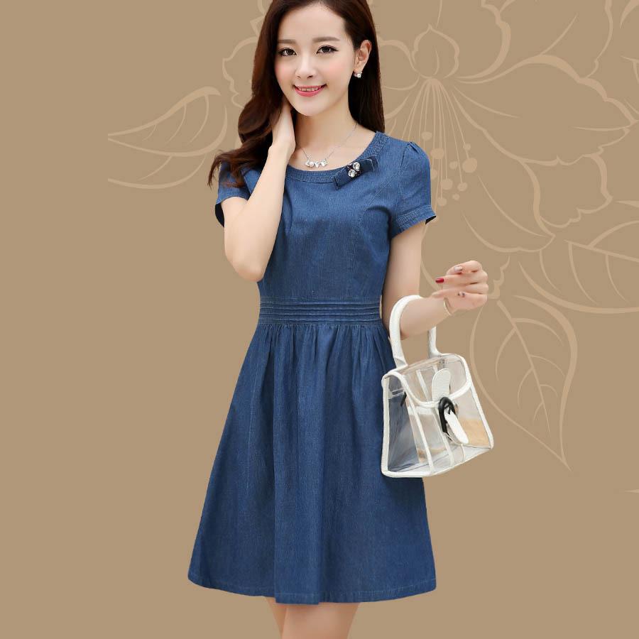 Free Shipping 2015 New Summer Denim Dress Women O-Neck Loose Fashion Jean Dress Ladies Slim Short Sleeve Plus Size XL XXL 603Одежда и ак�е��уары<br><br><br>Aliexpress