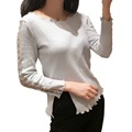 Autumn Spring Women s Fashion Long Sleeve Sexy Hollow Sleeve Side Slit Wave Edege T Shirt