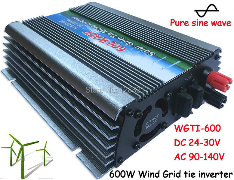 600W Wind Grid Tie Inverter MPPT Function, 24-30VDC Input to 110VAC Pure Sine Wave Output Micro on grid tie inverter 600W(China (Mainland))