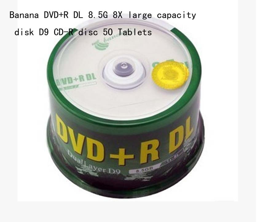 free shiping Bananas for the large capacity disc DVD + R DL 8.5 G 8 x D9 blank dish burn 50 pieces dvd disc(China (Mainland))