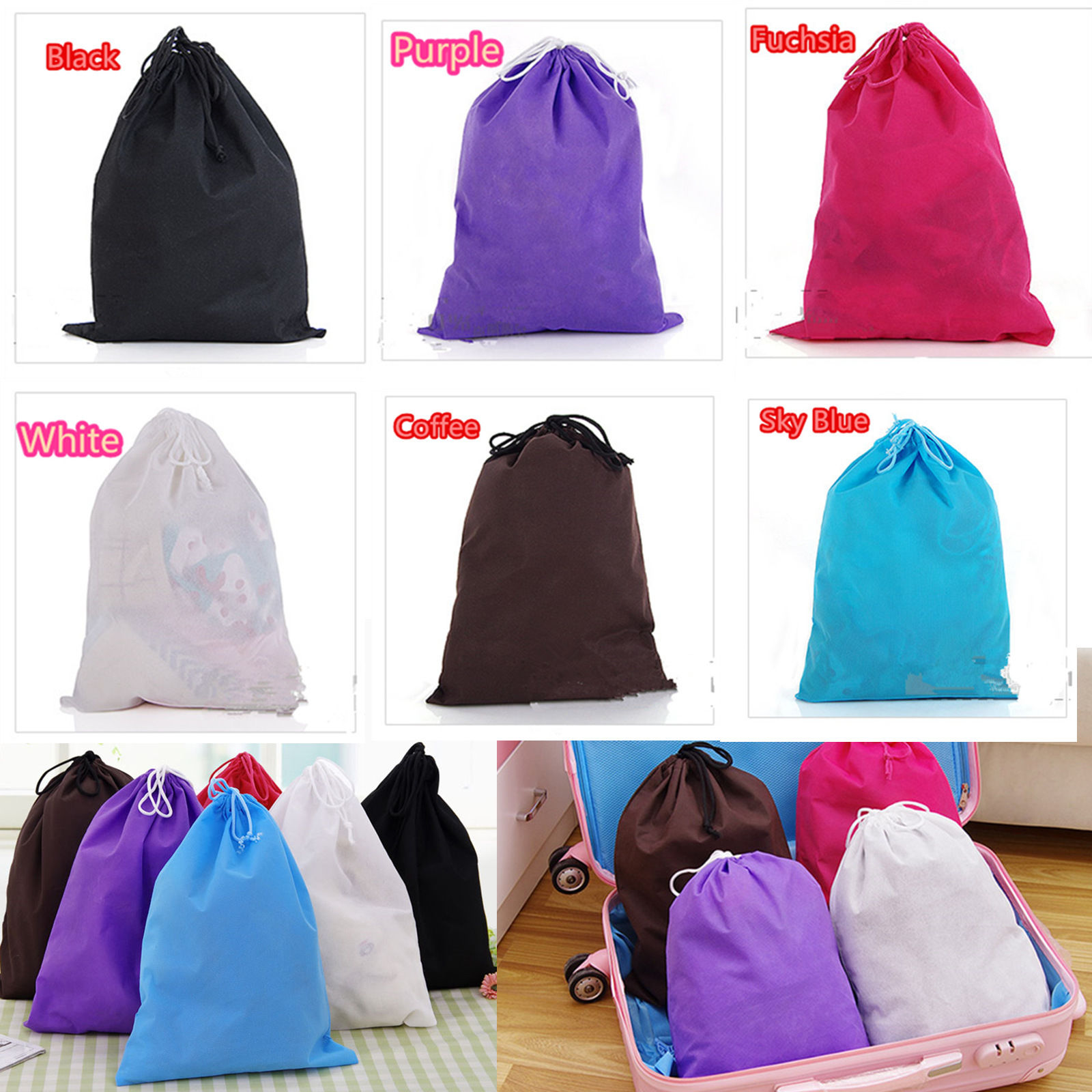 2016 Thick Non-Woven Laundry Shoe Bag Travel Pouch Storage Portable Tote Drawstring Storage Bag Organizer Covers(China (Mainland))