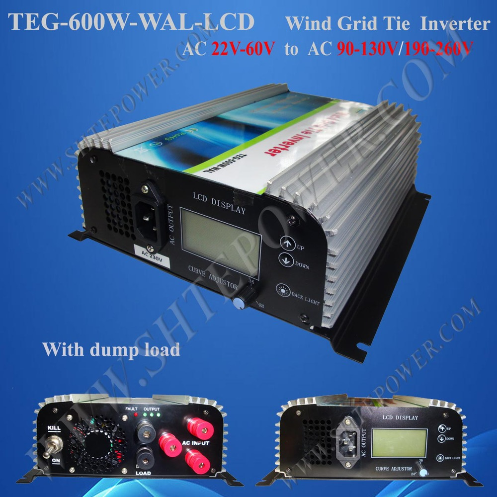 600w Grid Tie Power Inverter, 3 Phase Wind Turbine Generator Inverter with Dump Load Controller AC 22v-60V input to AC 220v 230v(China (Mainland))