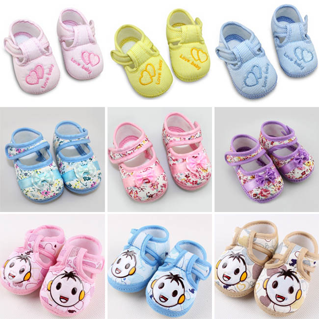 Lovely 12 Styles Baby Boys Girls loop Comfortable walker shoes size 3(China (Mainland))