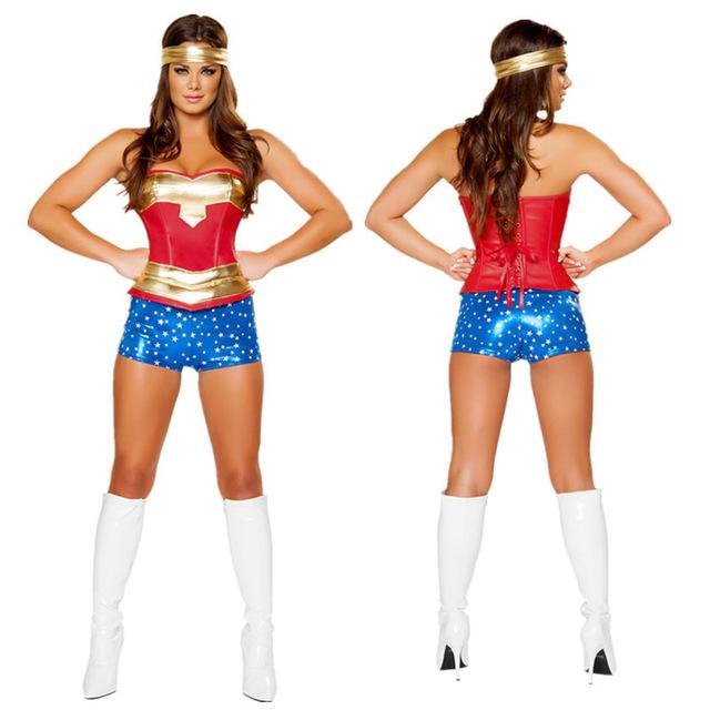 Wonder Women Sexy Costume Roma Heroine Hottie Captain Hero America Halloween Costumes Superwoman Cosplay S M L XL XXL(China (Mainland))