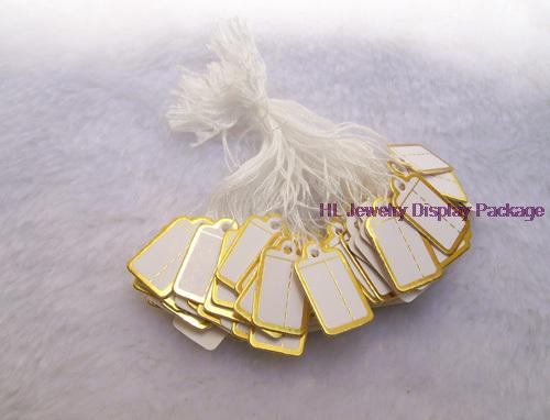 100 pcs Jewelry Strung Pricing Price Tags with String Gold Merchandise Cloth Label,FREE SHIPING(China (Mainland))