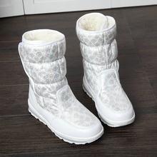 2019 Yeni Kış moda kadın çizmeler karışık doğal yün kadın sıcak botlar su geçirmez kalın kürk tam boy gümüş bayan kar çizmeler(China)