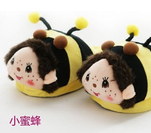 Wholesale men and women cartoon Qiqi plush cotton slippers home slippers warm waterproof heavy bottomed girls