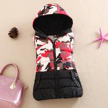 New 2015 Fashion Winter Vest Women Cotton Down Printed Camouflage Women Jacket Vest Coat Plus size 2XL Female Casual Outwear