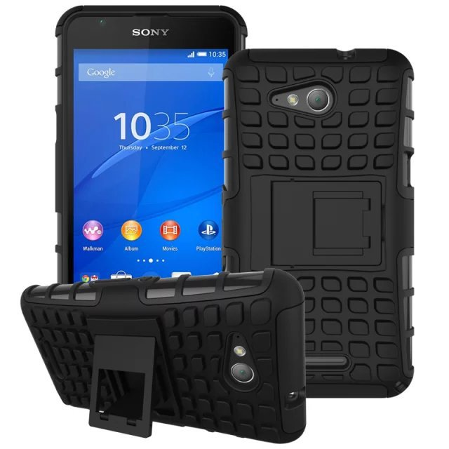 Hybrid Kickstand Rugged Rubber Armor Case For Sony Xperia E4G Dual Combo Hard PC + Soft TPU Silicone Back Cell Phone Case(China (Mainland))