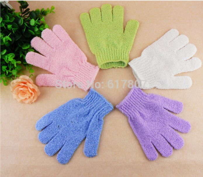 Creative Color Peeling Glove Scrubber Five Fingers Exfoliating Tan Removal Mitts Paddy Soft Fiber Massage Glove Cleaner(China (Mainland))