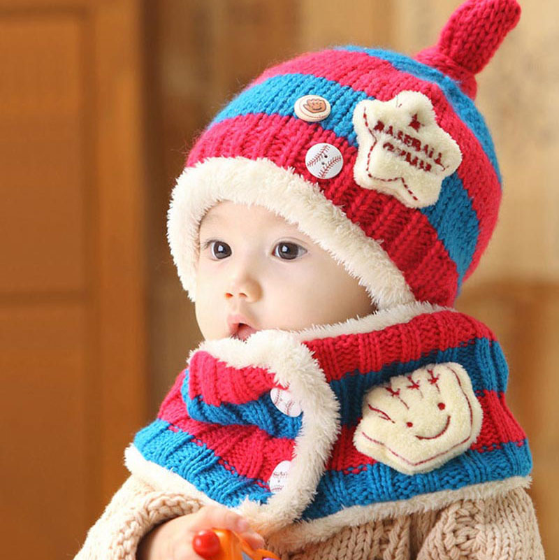 Baby Winter Knitted Hat Scarf Set Kids Warm Beanies Caps for Children Crochet Patterns Boys Girls Baby Clothes Accessories W8(China (Mainland))
