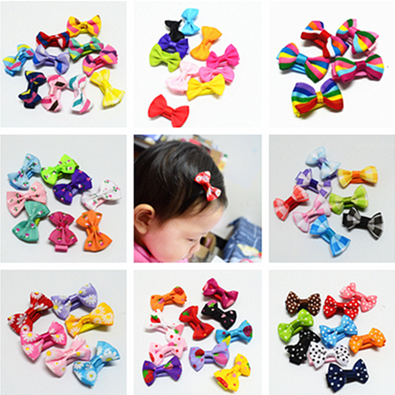 10 Pcs/ Lot Small Mini Bow Hairgrips Sweet Baby Girls Solid Dot/ Stripe Printing Whole Wrapped Safety Hair Clips Kids Hairpins(China (Mainland))