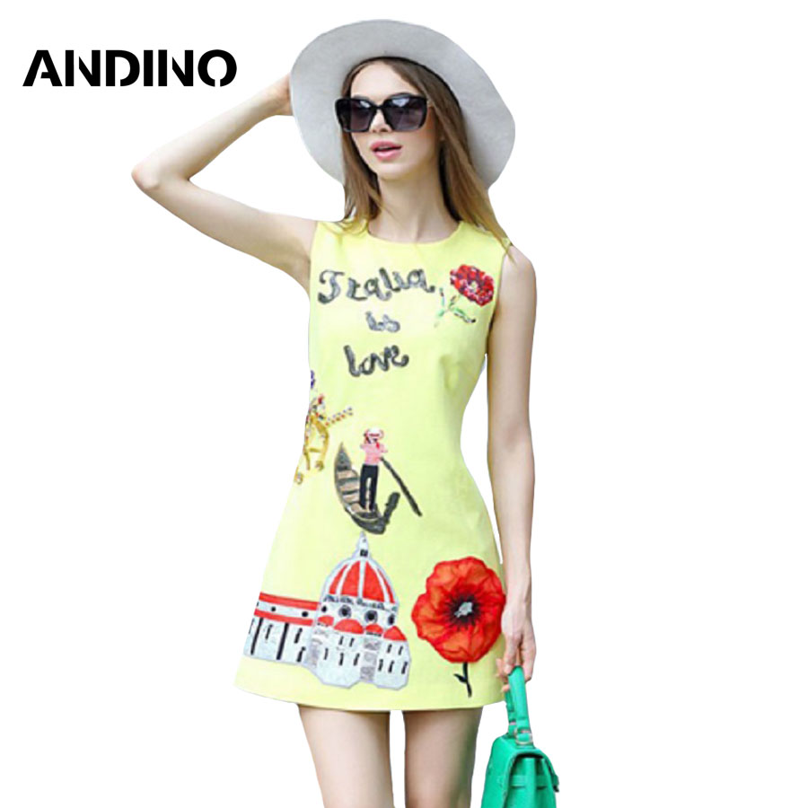 Vestido Vintage Women Dress 2016 Spring Fashion Womens Clothing Letter Pattern Ladies Dresses Party Floral Yellow Dress Sexy(China (Mainland))