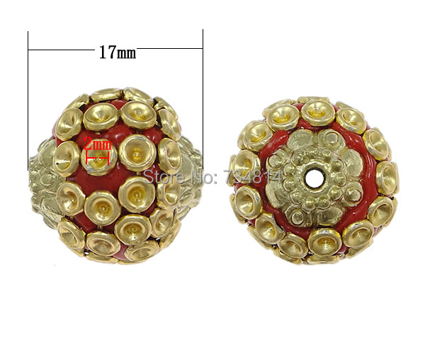 Free shipping!!!Indonesia Beads Setting,Jewelry 2014 Fashion, with Zinc Alloy, Round, plated, nickel, lead & cadmium free(China (Mainland))