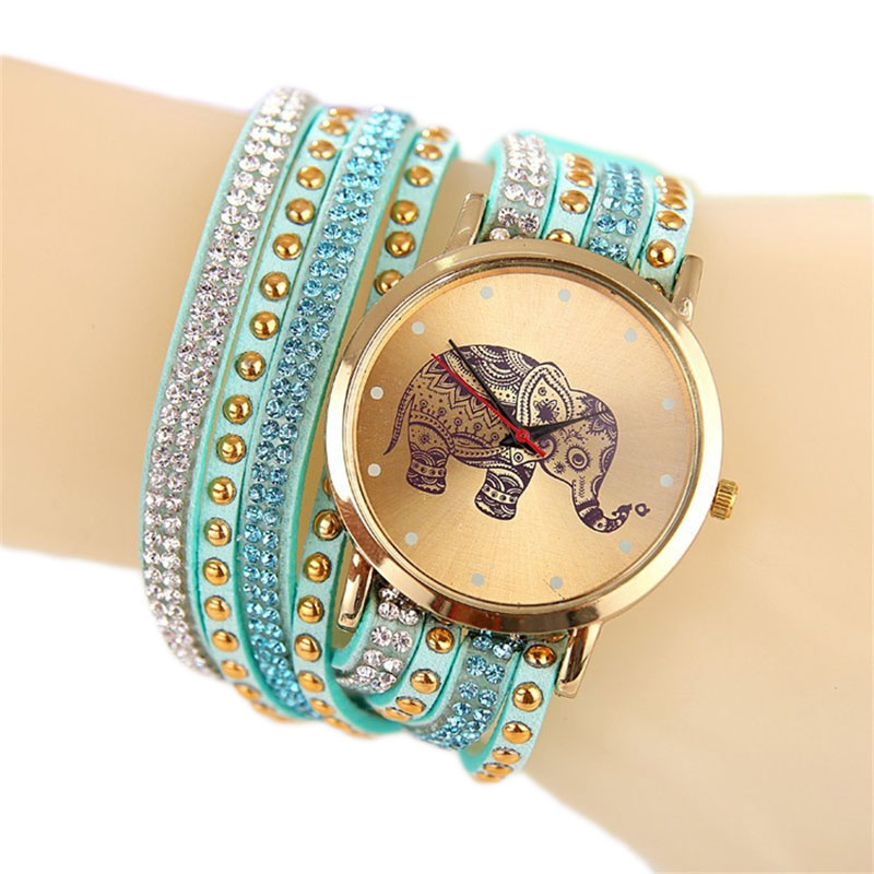 Гаджет  New Luxury Leather&Fabric Bracelet Wristwatch Elephant Hardlex Dial Quartz Watches For Women Ladies Reloj clock None Часы