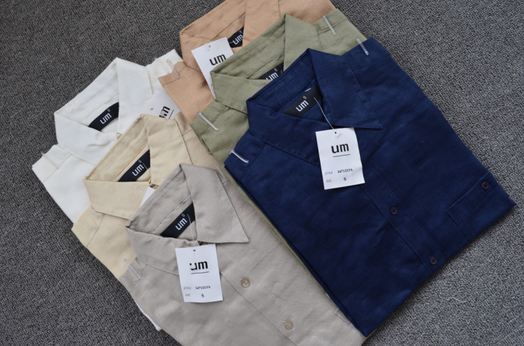 Free Shipping Men's Exported American Plus size 100% ramie long-sleeve shirt solid color male linen fabric(China (Mainland))